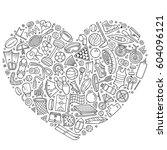 line art vector hand drawn set...   Shutterstock .eps vector #604096121