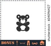 teddy bear icon flat. simple... | Shutterstock . vector #604096427