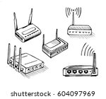 wireless router sketch icon set ... | Shutterstock . vector #604097969