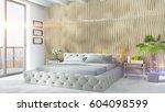modern bright interior . 3d... | Shutterstock . vector #604098599