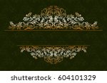 decorative golden frame with... | Shutterstock . vector #604101329