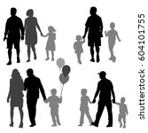 set silhouette of happy family... | Shutterstock .eps vector #604101755