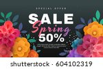 Stock vector spring sale banner with paper flowers on a black background vector illustration perfect for 604102319