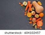 glass of homemade juice or... | Shutterstock . vector #604102457