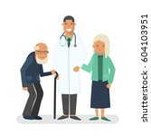 pensioners with doctor...   Shutterstock . vector #604103951