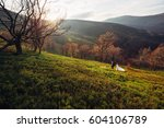 Small photo of Bride and groom have fun climbing autumn hill against the wind