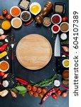 big set of spices  vegetables... | Shutterstock . vector #604107389