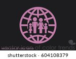 family and world icon vector... | Shutterstock .eps vector #604108379
