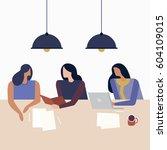 office work. business meeting.... | Shutterstock .eps vector #604109015