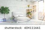 modern bright interior . 3d... | Shutterstock . vector #604111661