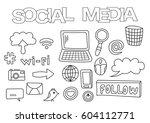 social media elements hand... | Shutterstock .eps vector #604112771