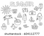 summer elements hand drawn set. ... | Shutterstock .eps vector #604112777