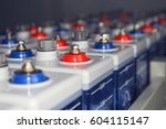 an electric dc battery at an... | Shutterstock . vector #604115147