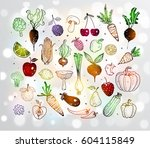 doodle fruits and vegetables on ... | Shutterstock .eps vector #604115849