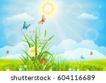 sunny summer background with... | Shutterstock .eps vector #604116689