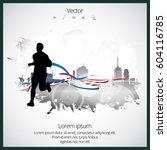 silhouette of marathon runner | Shutterstock .eps vector #604116785