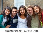 happy group of casual friends ... | Shutterstock . vector #60411898