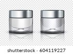 glass cosmetic jar with silver... | Shutterstock .eps vector #604119227