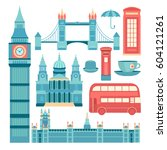 set of vector icons london.... | Shutterstock .eps vector #604121261
