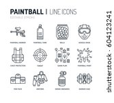 paintball game line icons.... | Shutterstock .eps vector #604123241