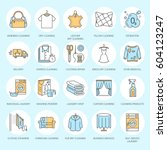 Stock vector dry cleaning laundry line icons launderette service equipment washing machine clothing shoe and 604123247