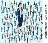 businesswoman big boss leader... | Shutterstock .eps vector #604126475