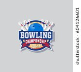bowling championship emblem.... | Shutterstock .eps vector #604126601