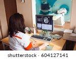 mri machine and screens with... | Shutterstock . vector #604127141