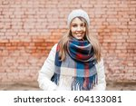 beautiful stylish girl with a... | Shutterstock . vector #604133081