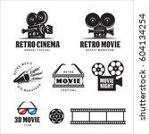 retro cinema labels badges...   Shutterstock .eps vector #604134254