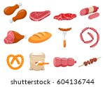 meat flour and bread flat food...   Shutterstock .eps vector #604136744