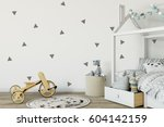 mock up wall in child room... | Shutterstock . vector #604142159