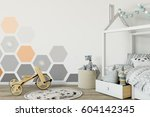 mock up wall in child room... | Shutterstock . vector #604142345