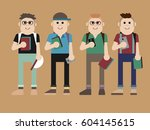 four smiling trendy young... | Shutterstock .eps vector #604145615