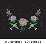 embroidery colorful fashion... | Shutterstock .eps vector #604148681