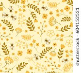 seamless floral pattern with... | Shutterstock .eps vector #604152521