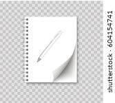 realistic spiral notepad blank... | Shutterstock .eps vector #604154741