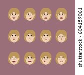 set of female facial emotions ... | Shutterstock .eps vector #604159061