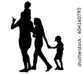 silhouette of happy family on a ... | Shutterstock . vector #604160795