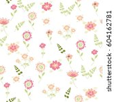 vector floral pattern in doodle ... | Shutterstock .eps vector #604162781