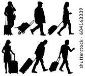 black silhouettes travelers... | Shutterstock . vector #604163339