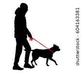 silhouette of people and dog.... | Shutterstock . vector #604163381