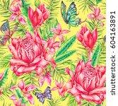 watercolor vintage floral... | Shutterstock . vector #604163891