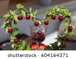 Red Wine Glass With Ivy   Hear...
