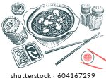 hand drawn japanese food... | Shutterstock .eps vector #604167299