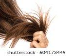 female hair on white background | Shutterstock . vector #604173449
