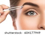close up of female face and... | Shutterstock . vector #604177949