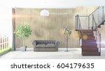 modern bright interior . 3d... | Shutterstock . vector #604179635