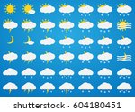 vector weather icons set on... | Shutterstock .eps vector #604180451