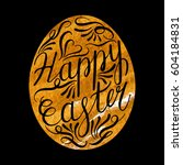 easter egg with handwritten... | Shutterstock .eps vector #604184831